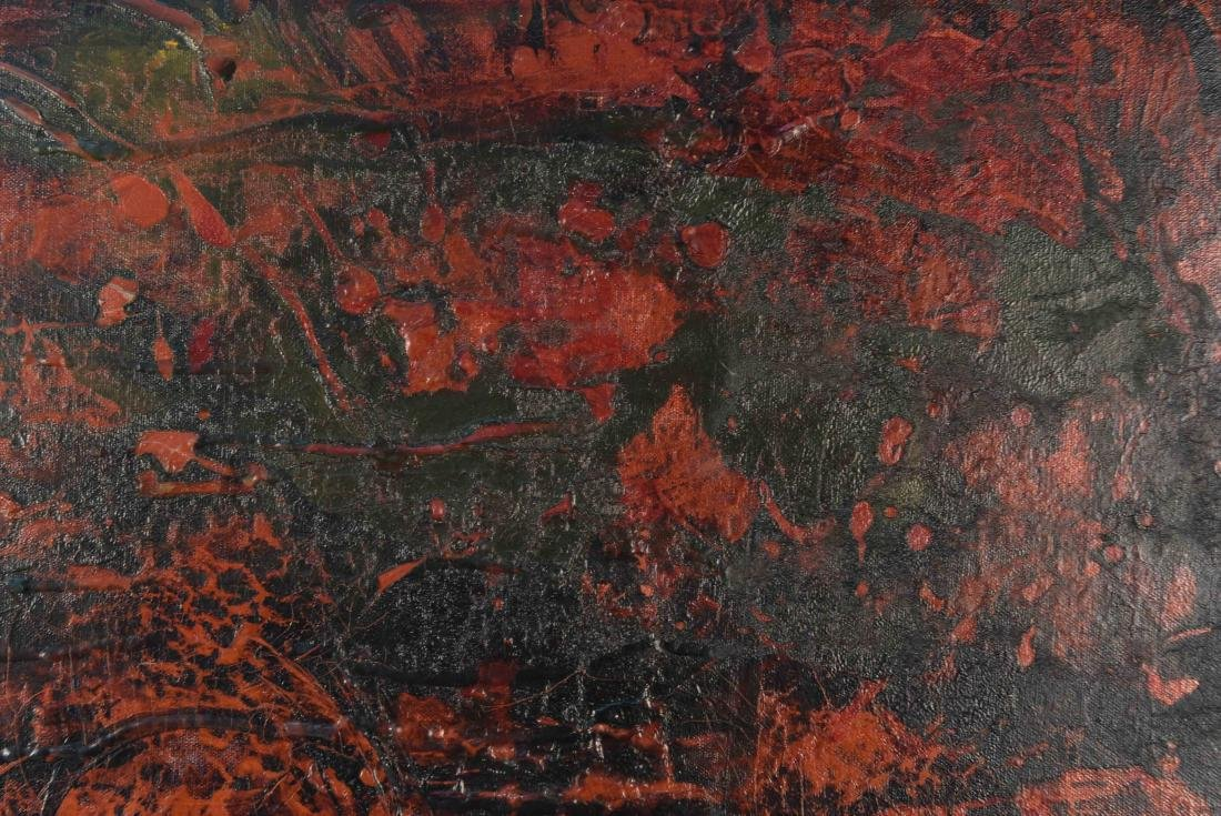 BLACK AND RED ABSTRACT O/C PAINTING - 3