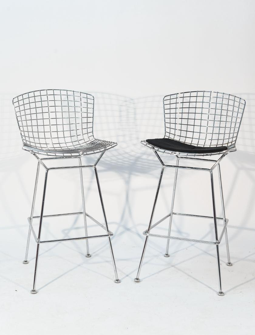 PAIR OF CHROME BERTOIA BAR STOOLS