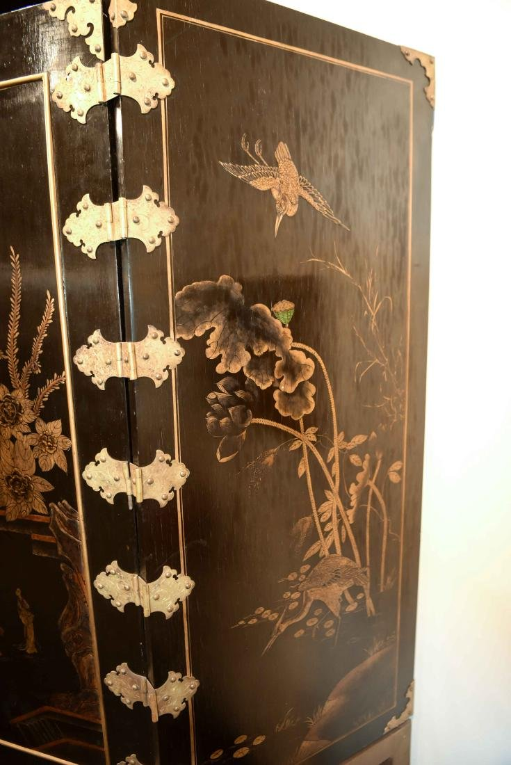 CHINESE LACQUER CABINET ON BRASS STAND - 11
