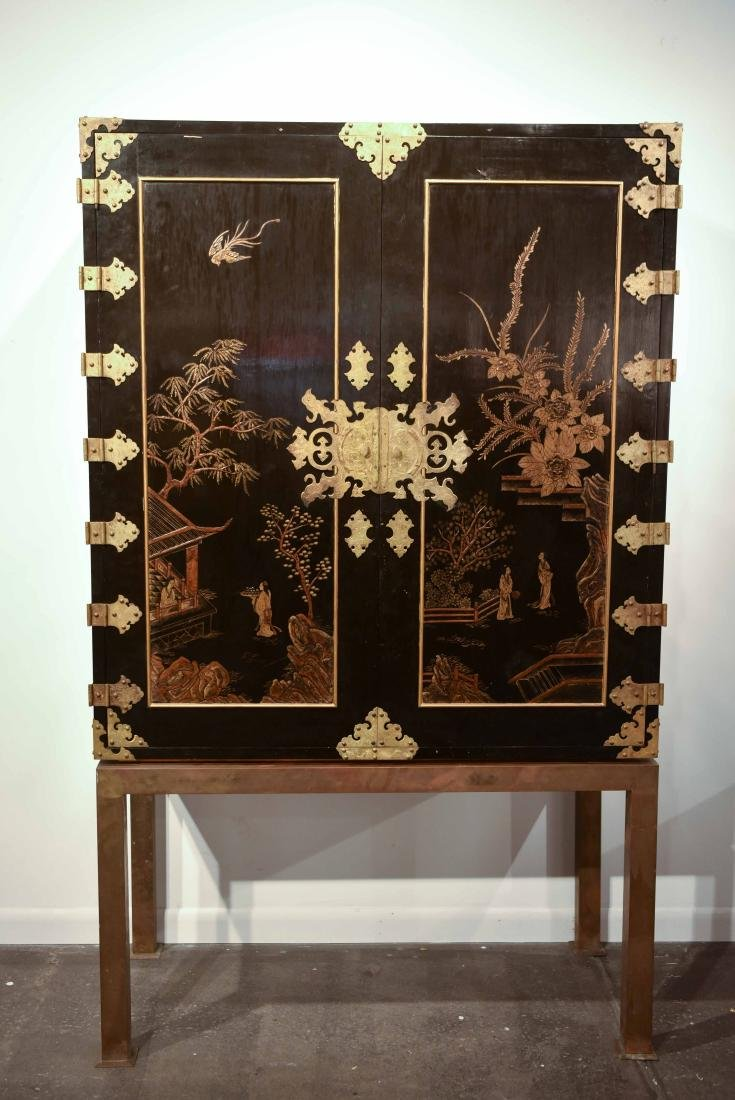 CHINESE LACQUER CABINET ON BRASS STAND