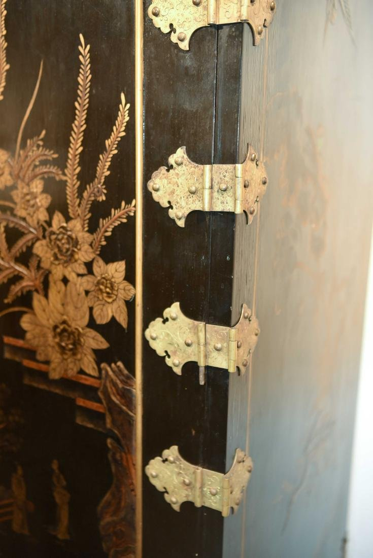 CHINESE LACQUER CABINET ON BRASS STAND - 3
