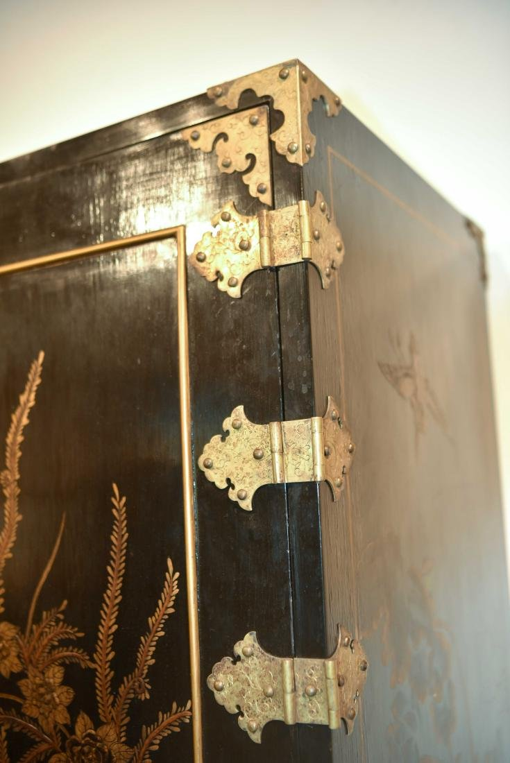 CHINESE LACQUER CABINET ON BRASS STAND - 4