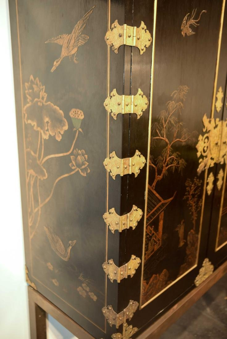 CHINESE LACQUER CABINET ON BRASS STAND - 5