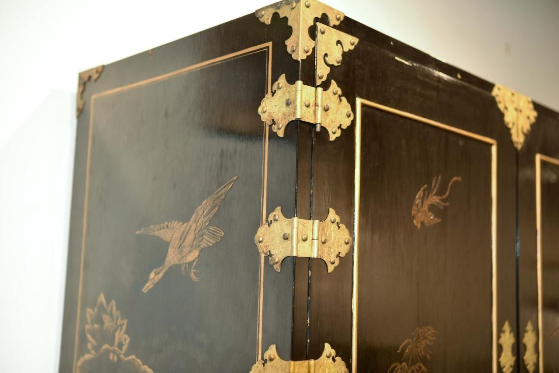 CHINESE LACQUER CABINET ON BRASS STAND - 6