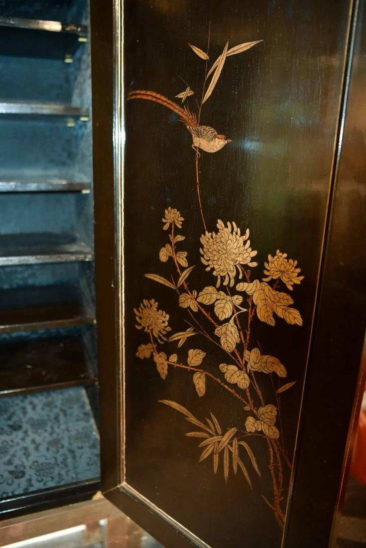 CHINESE LACQUER CABINET ON BRASS STAND - 9
