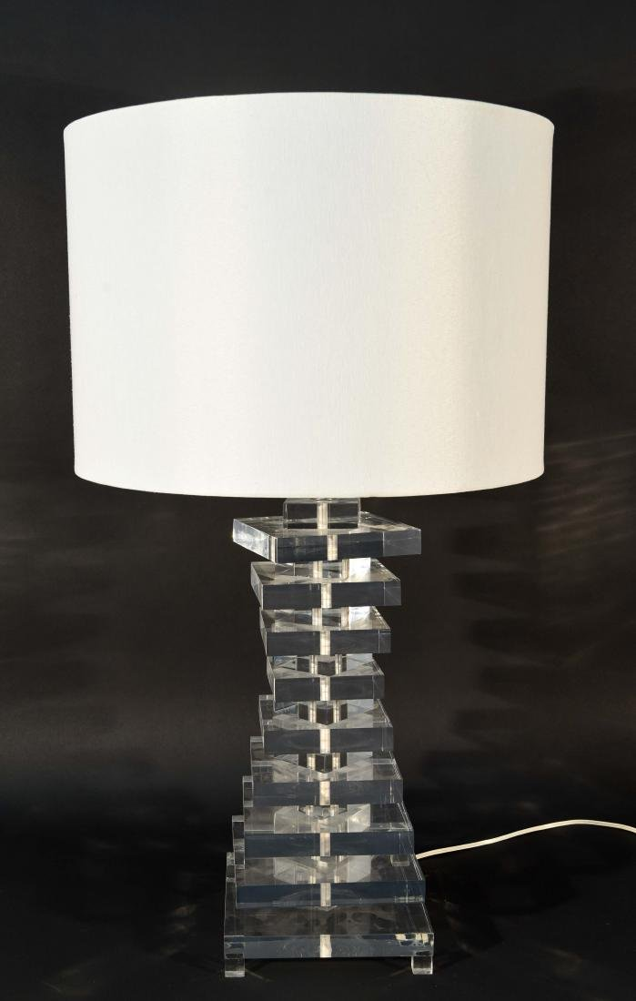 STACKED LUCITE TABLE LAMP