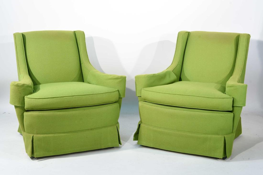 PAIR OF MID-CENTURY LIME GREEN CLUB CHAIRS