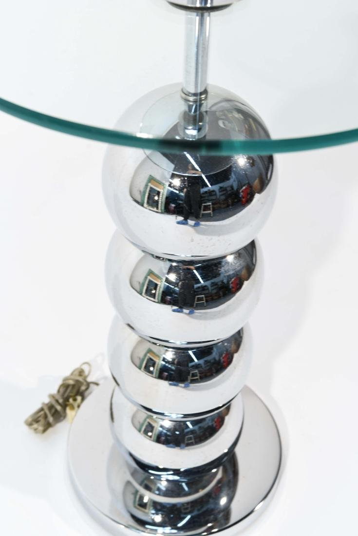 VINTAGE STACKED CHROME BALL FLOOR LAMP TABLE - 10