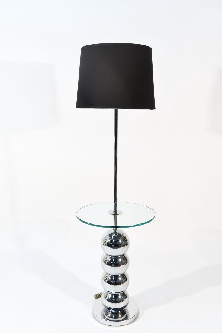 VINTAGE STACKED CHROME BALL FLOOR LAMP TABLE