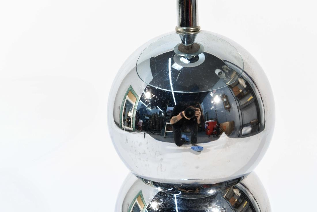 VINTAGE STACKED CHROME BALL FLOOR LAMP TABLE - 9