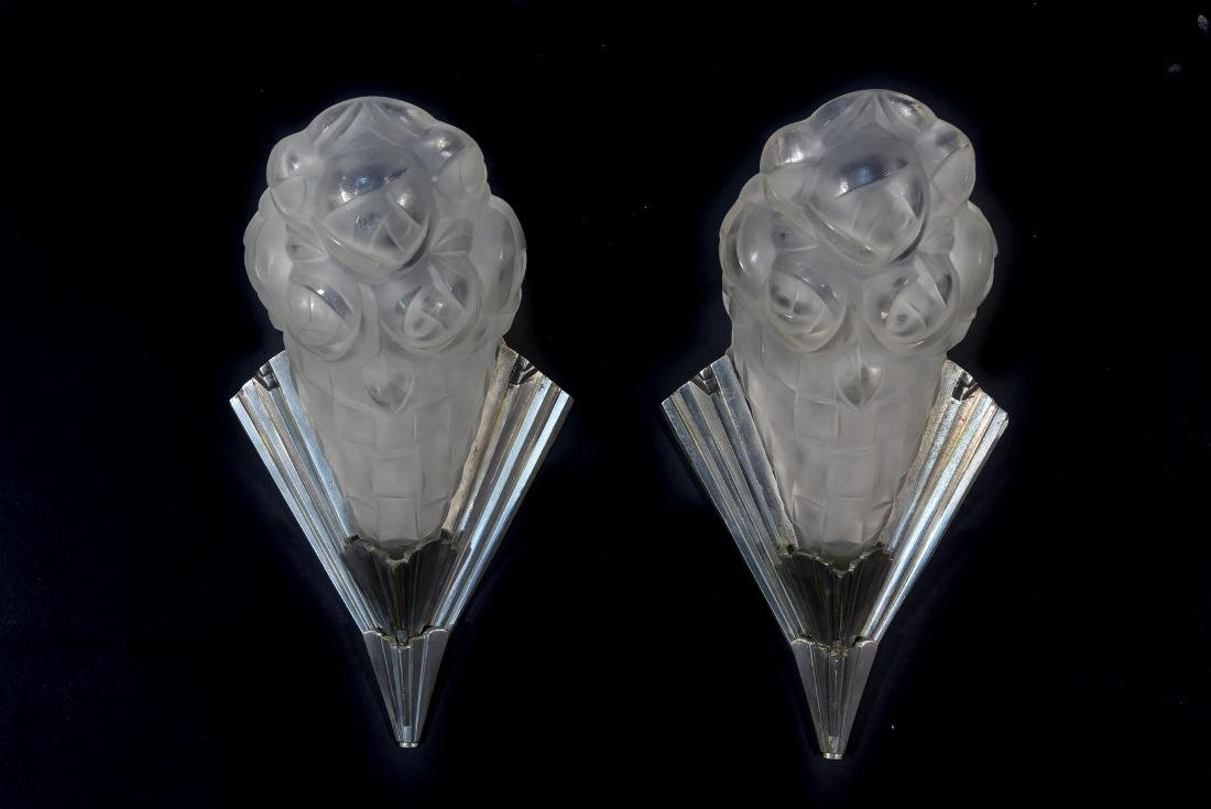 FRENCH ART DECO SCONCES BY DEGUE