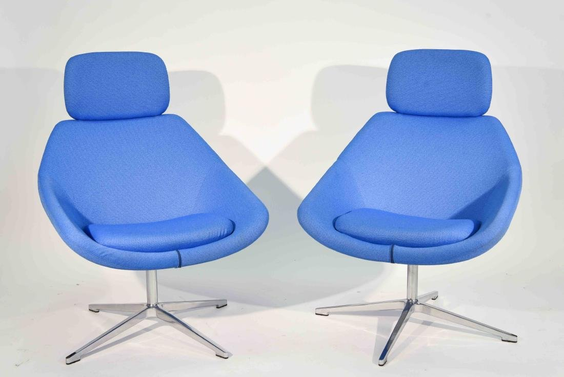 PAIR OF ALLEMUIR TALL BACK LOUNGE CHAIRS