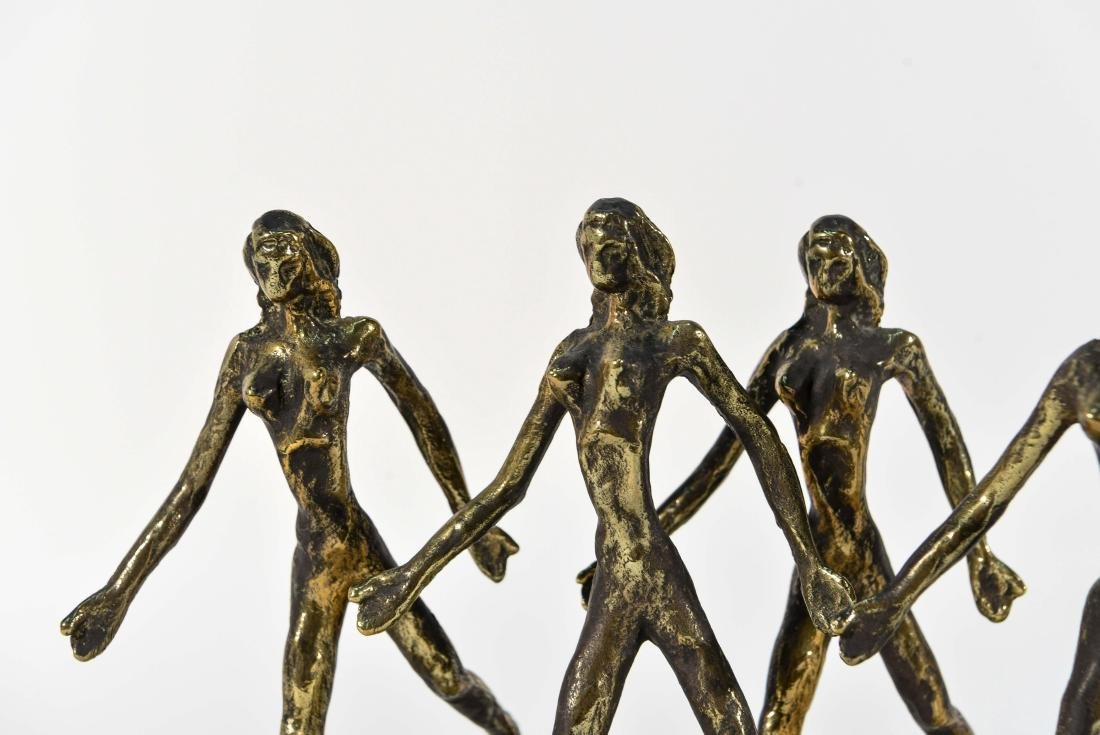 BRONZE AND MARBLE DANCING FIGURES SCULPTURE - 2