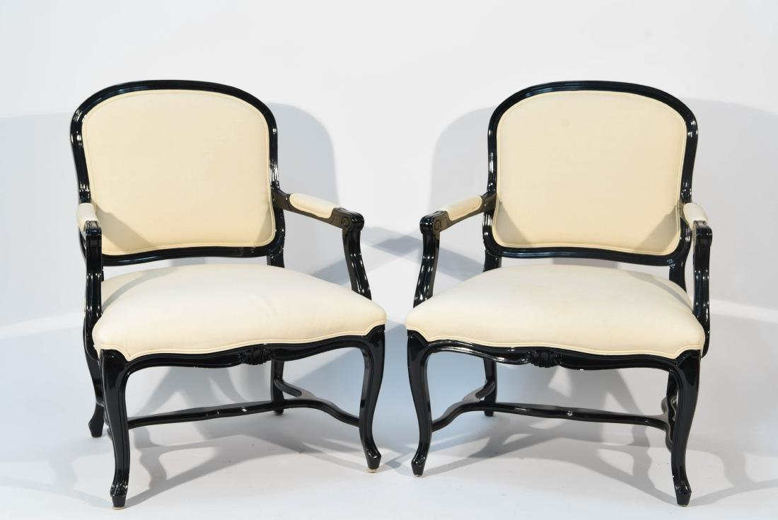PAIR OF LACQUERED FAUTEUIL ARM CHAIRS