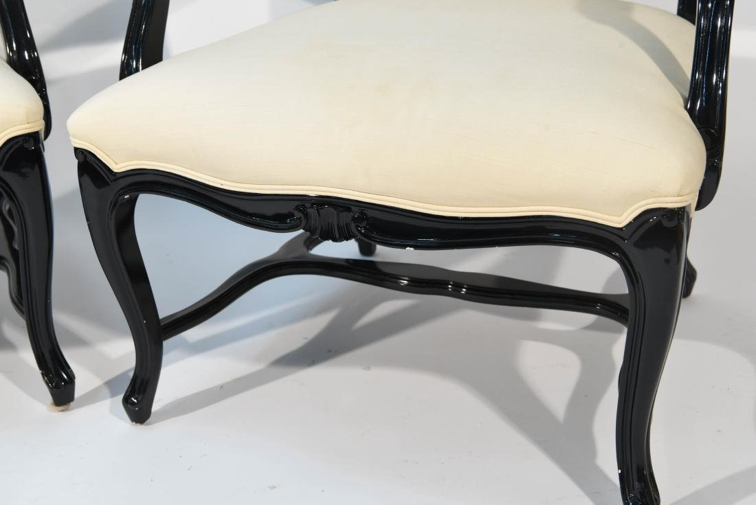 PAIR OF LACQUERED FAUTEUIL ARM CHAIRS - 7