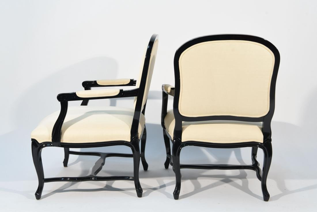 PAIR OF LACQUERED FAUTEUIL ARM CHAIRS - 8