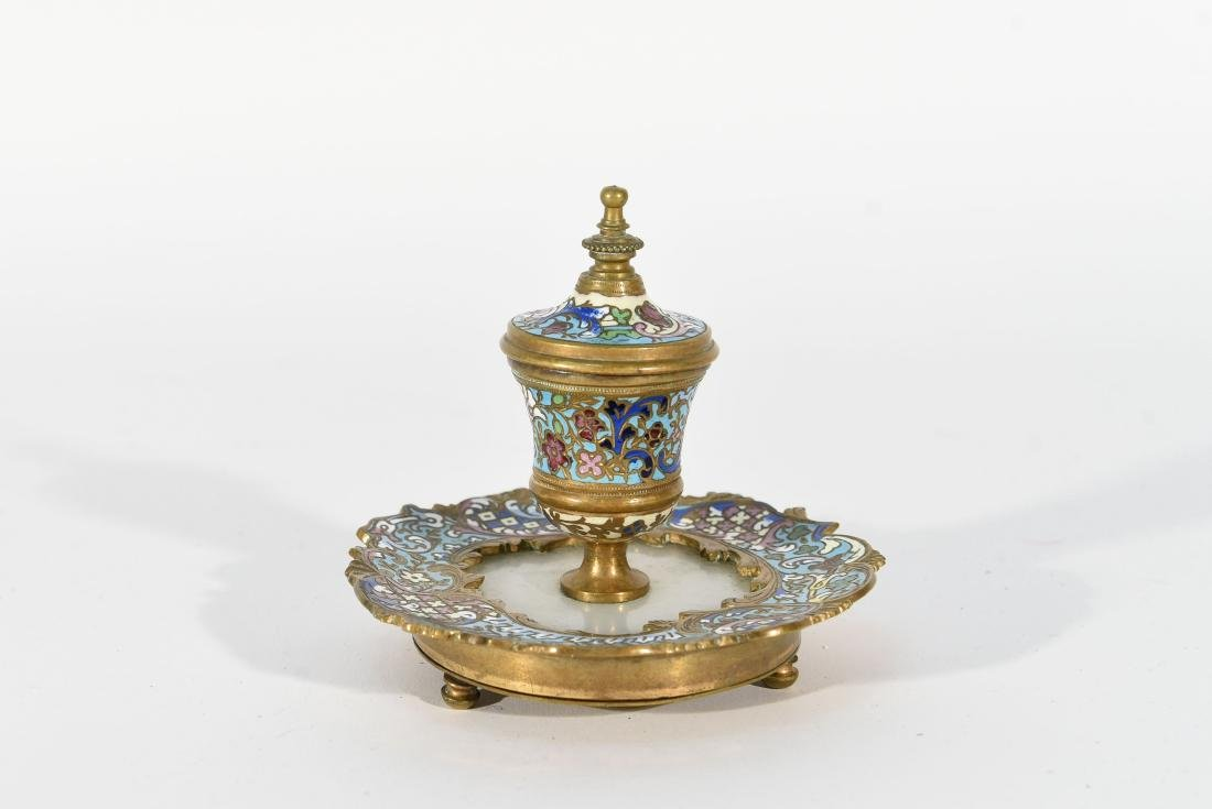 19TH C. FRENCH CHAMPLEVE ENAMEL BRONZE INKWELL