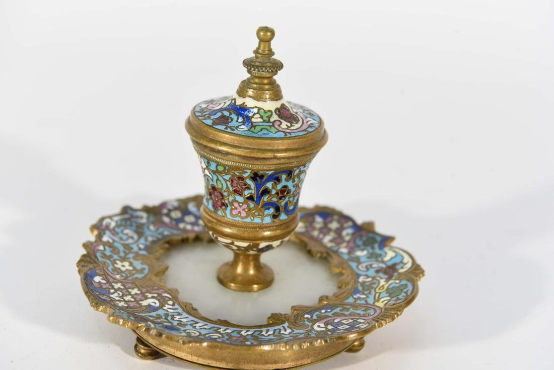 19TH C. FRENCH CHAMPLEVE ENAMEL BRONZE INKWELL - 2