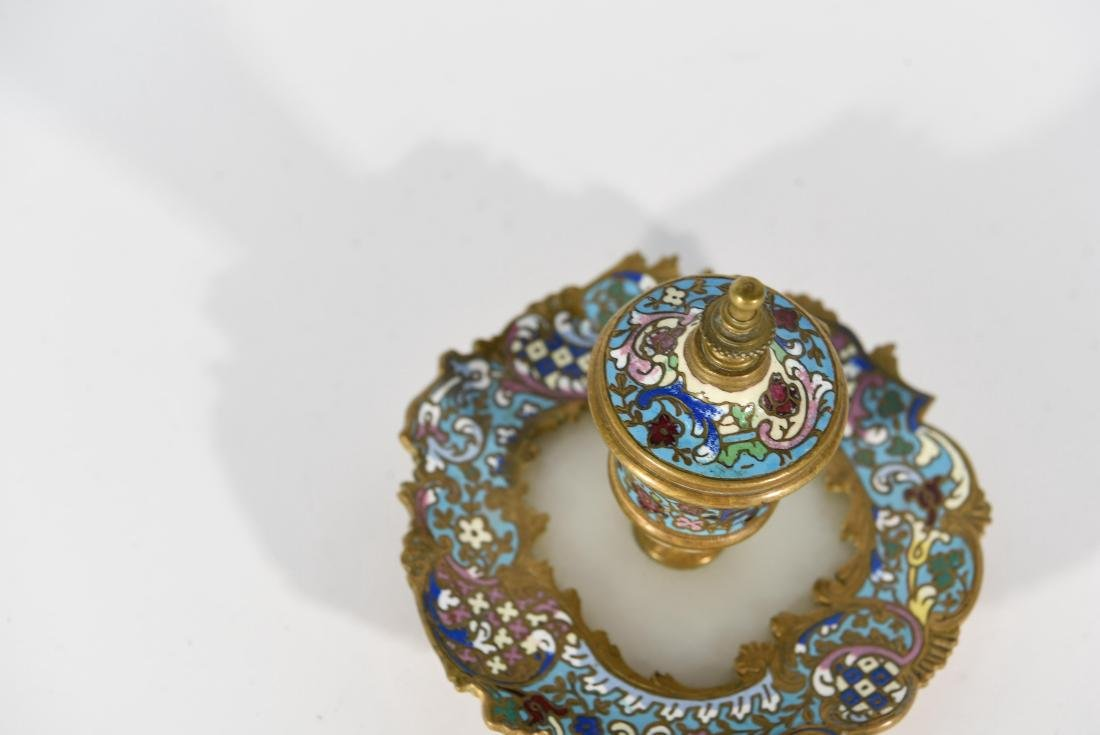 19TH C. FRENCH CHAMPLEVE ENAMEL BRONZE INKWELL - 3