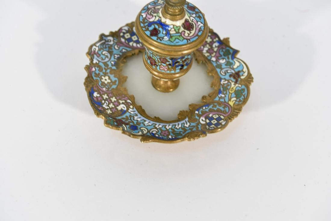 19TH C. FRENCH CHAMPLEVE ENAMEL BRONZE INKWELL - 4