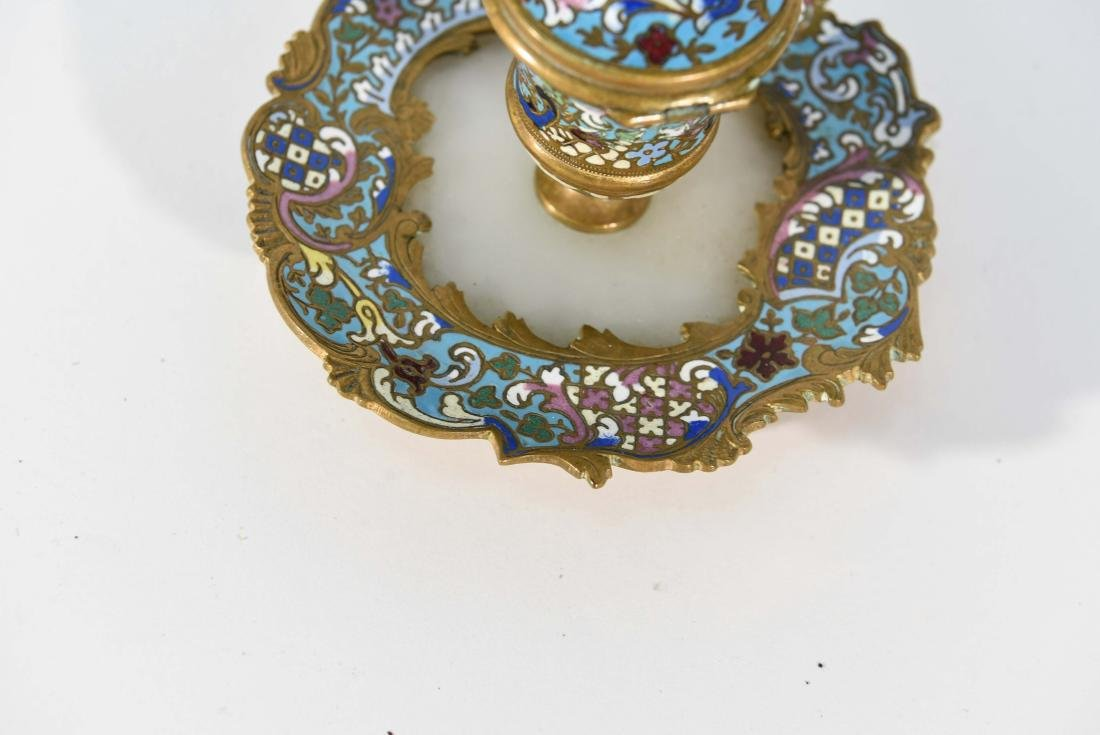 19TH C. FRENCH CHAMPLEVE ENAMEL BRONZE INKWELL - 5