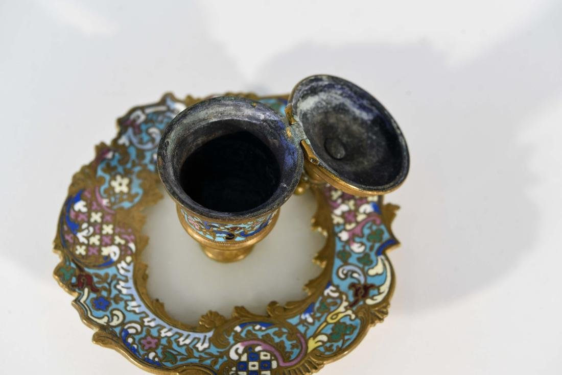 19TH C. FRENCH CHAMPLEVE ENAMEL BRONZE INKWELL - 6