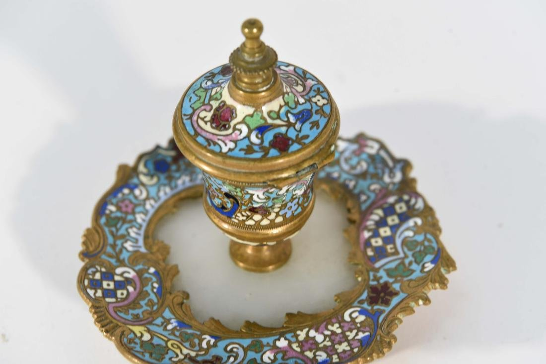 19TH C. FRENCH CHAMPLEVE ENAMEL BRONZE INKWELL - 8