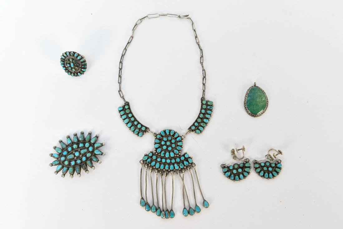 STERLING SILVER & TURQUOISE JEWELRY SUITE