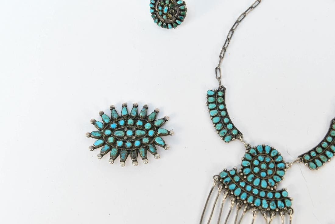 STERLING SILVER & TURQUOISE JEWELRY SUITE - 2