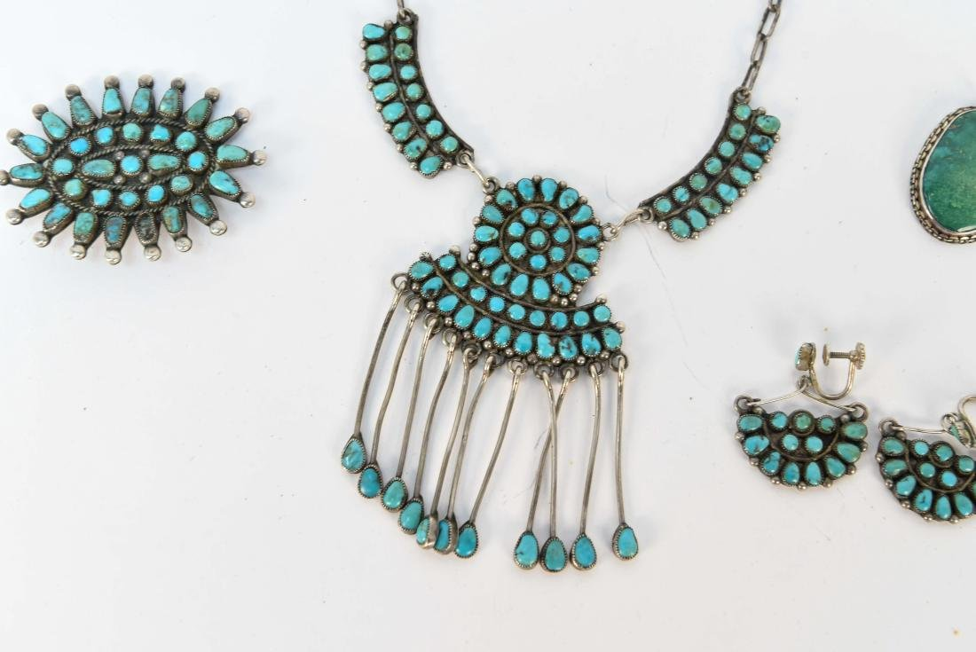 STERLING SILVER & TURQUOISE JEWELRY SUITE - 3