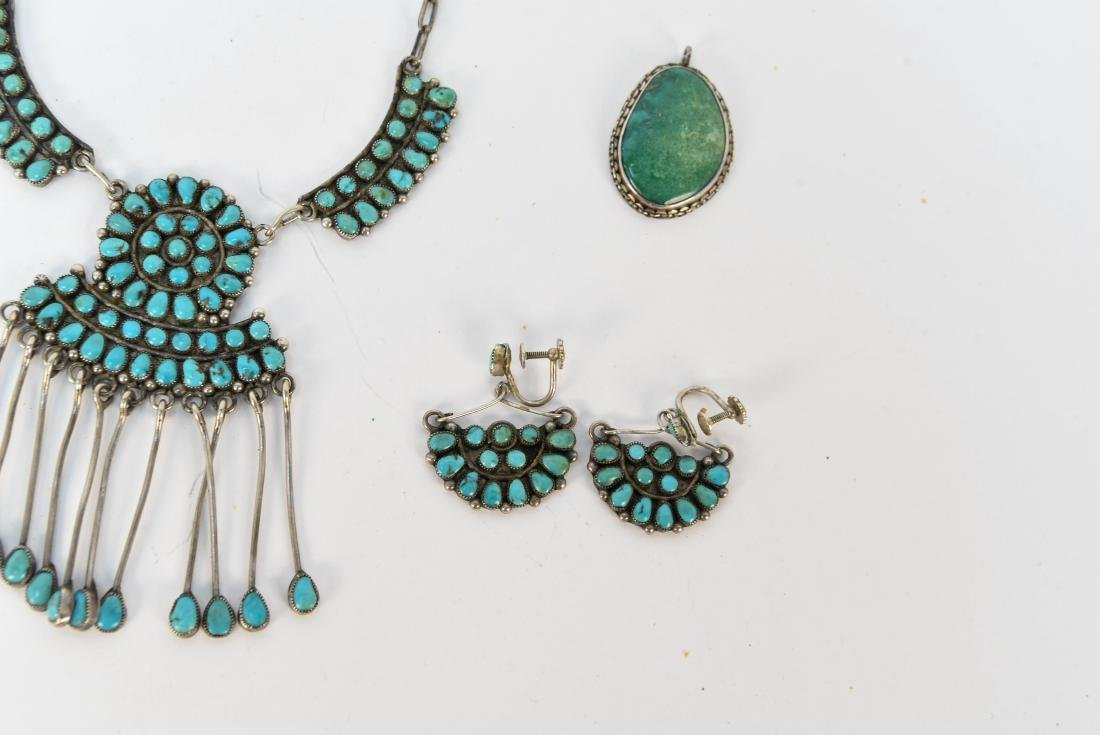 STERLING SILVER & TURQUOISE JEWELRY SUITE - 4