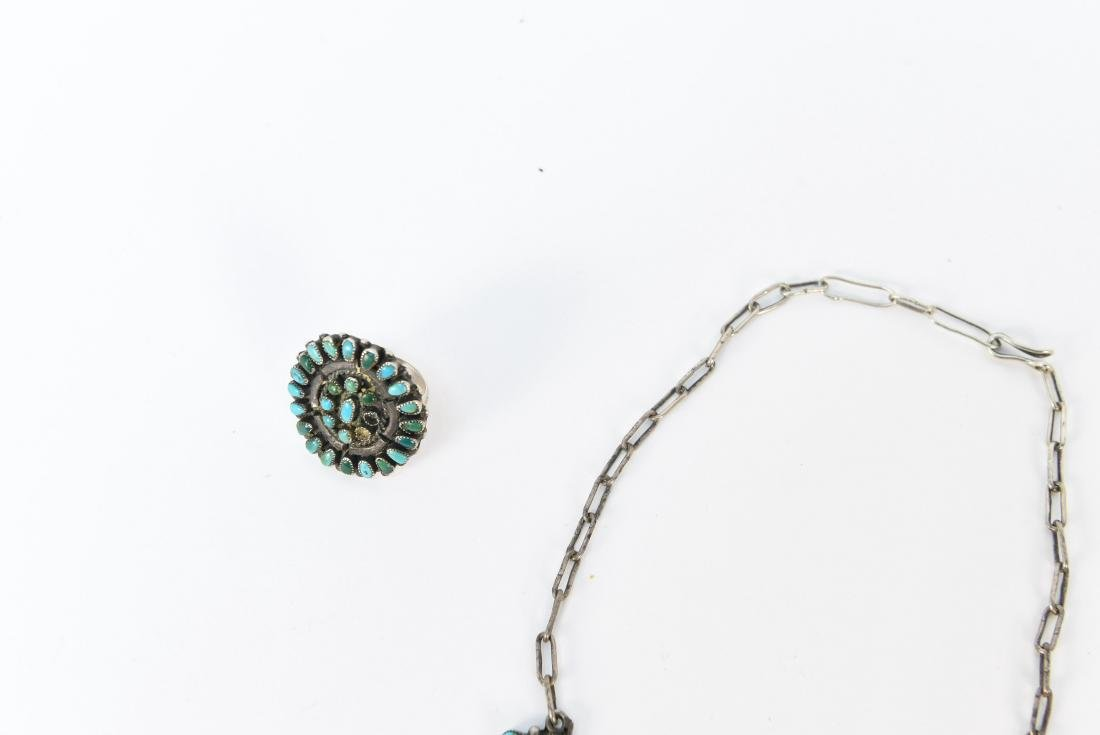 STERLING SILVER & TURQUOISE JEWELRY SUITE - 6