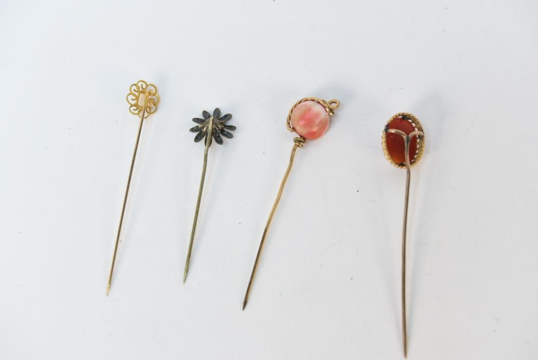 (4) ANTIQUE STICK PINS - 4