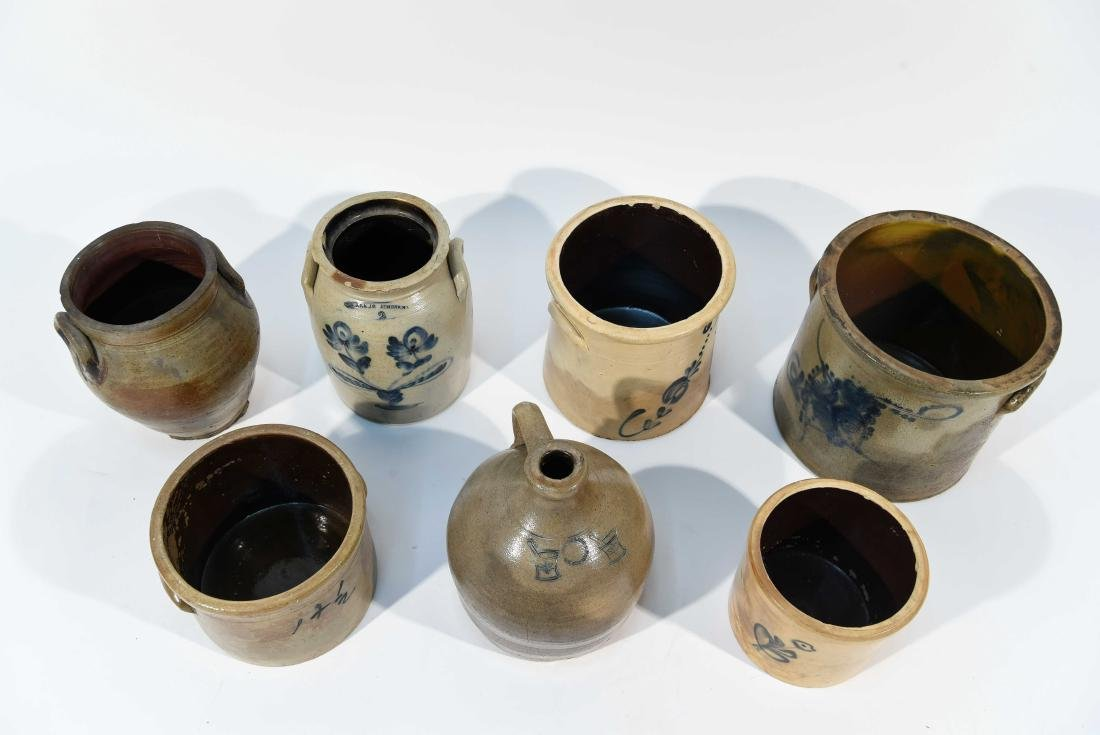 GROUPING OF AMERICAN STONEWARE CROCKS ETC - 2