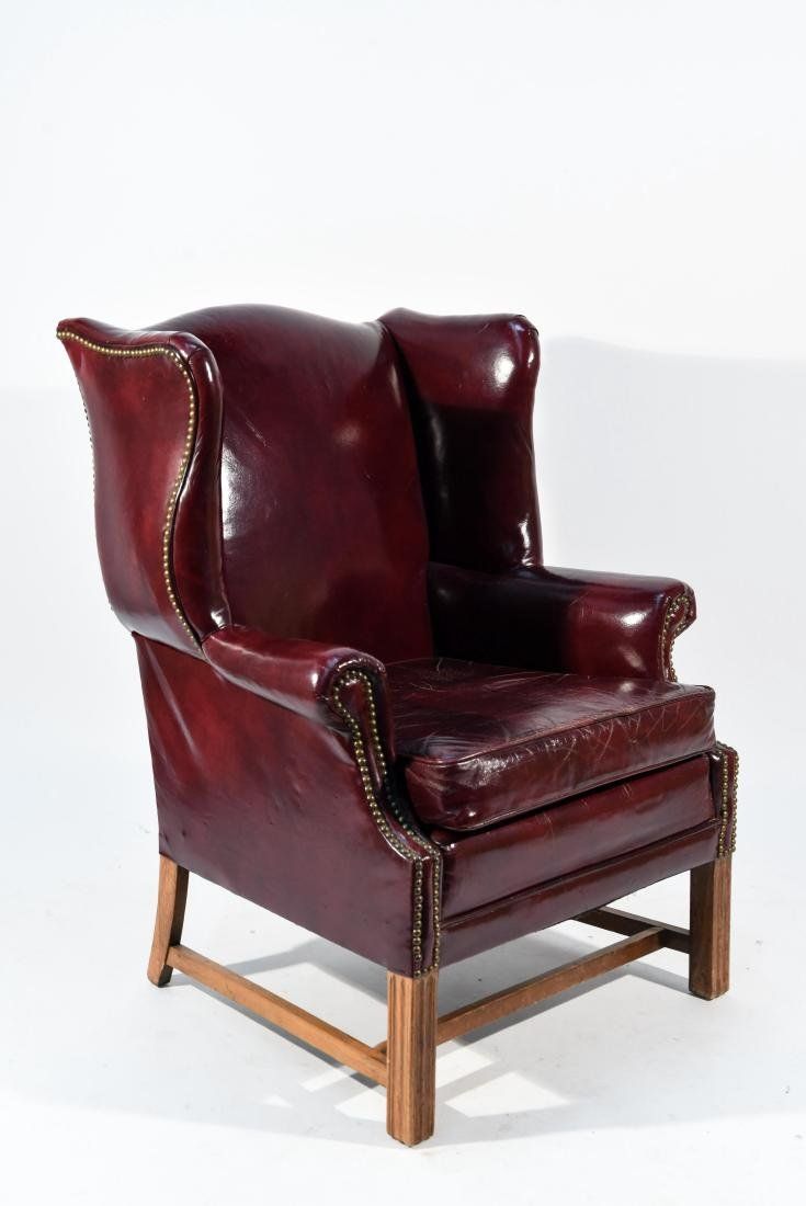 ENGLISH RED LEATHER WING CHAIR