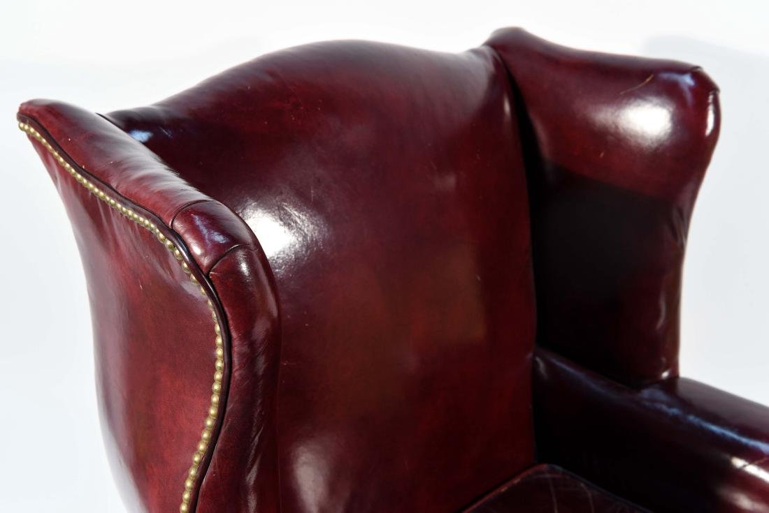 ENGLISH RED LEATHER WING CHAIR - 3