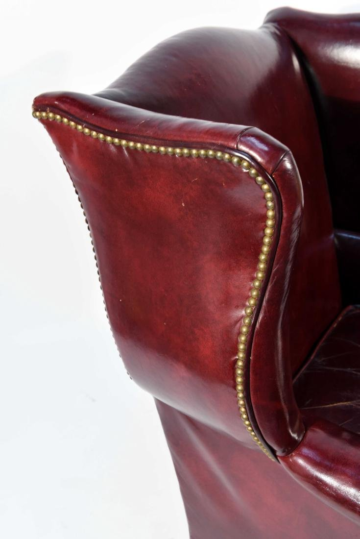ENGLISH RED LEATHER WING CHAIR - 4