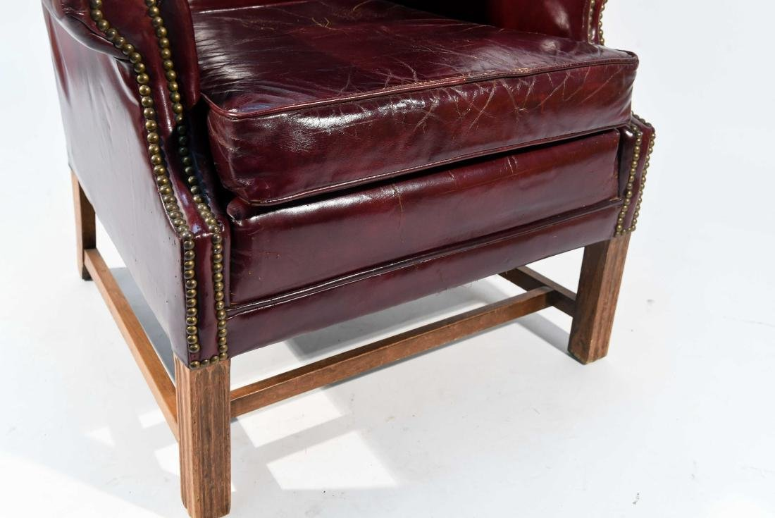 ENGLISH RED LEATHER WING CHAIR - 6