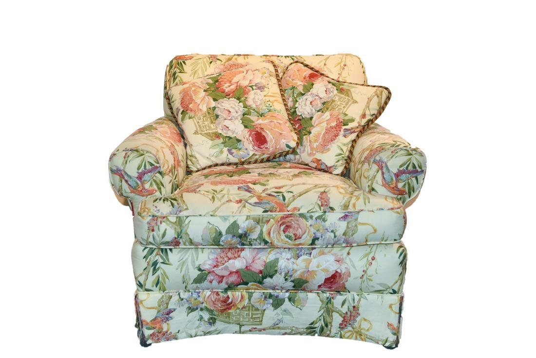 CHINTZ DOWN FILLED UPHOLSTERED CHAIR