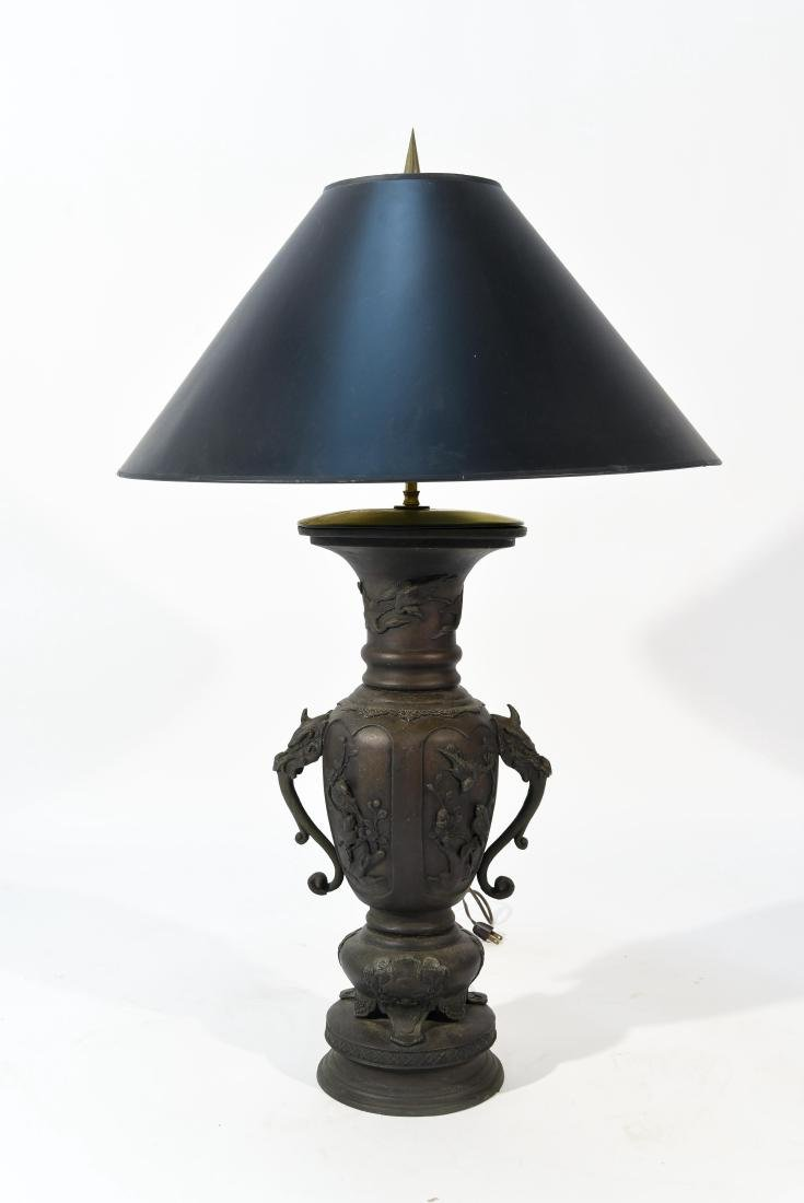 LARGE JAPANESE VASE LAMP C. 1900