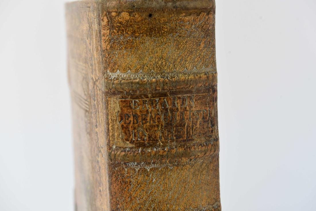 ANTIQUE LEATHER BOUND FAUX BOOK SAFE - 2