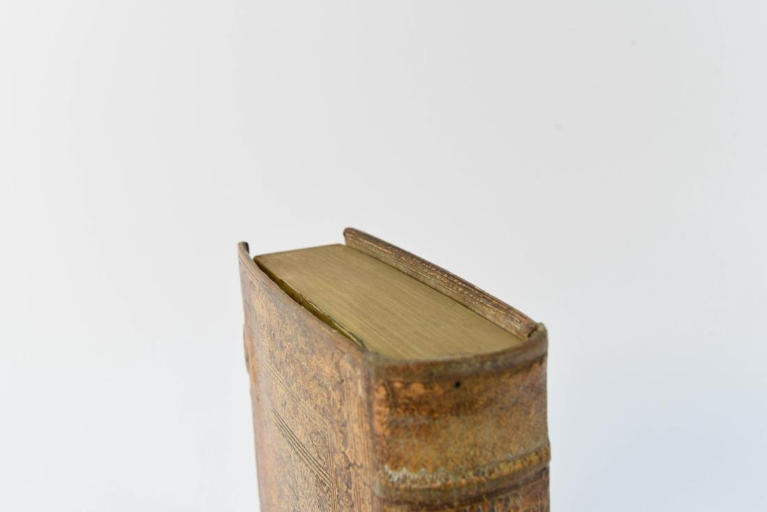 ANTIQUE LEATHER BOUND FAUX BOOK SAFE - 4