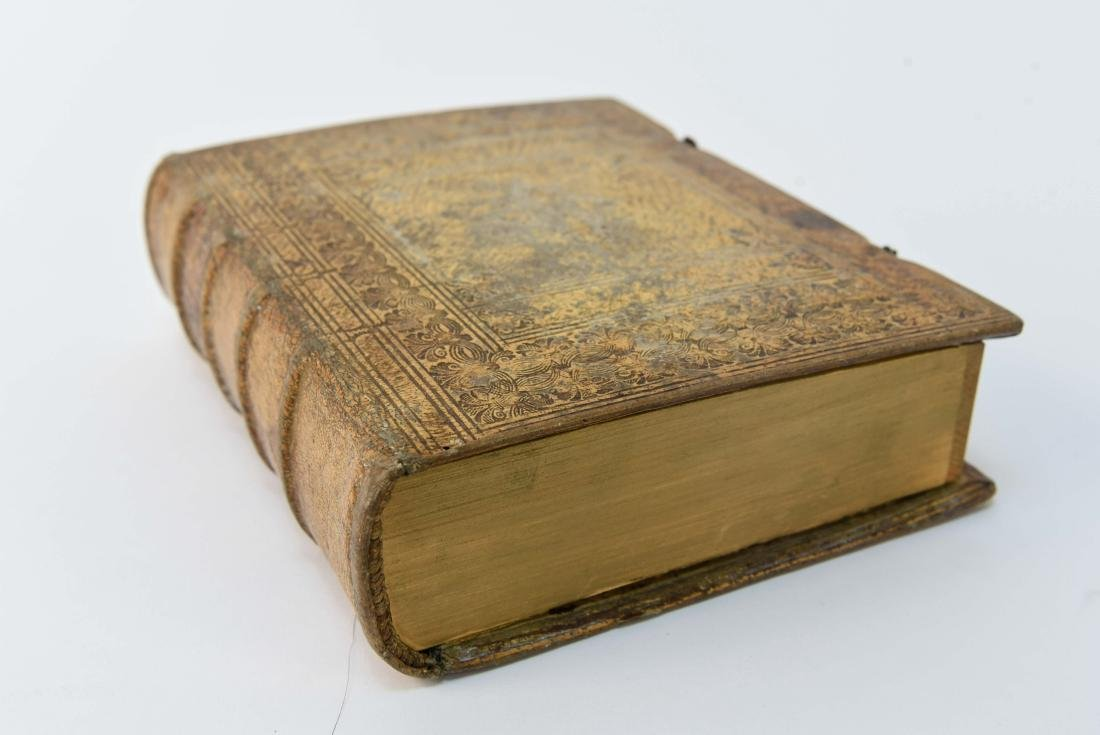 ANTIQUE LEATHER BOUND FAUX BOOK SAFE - 5