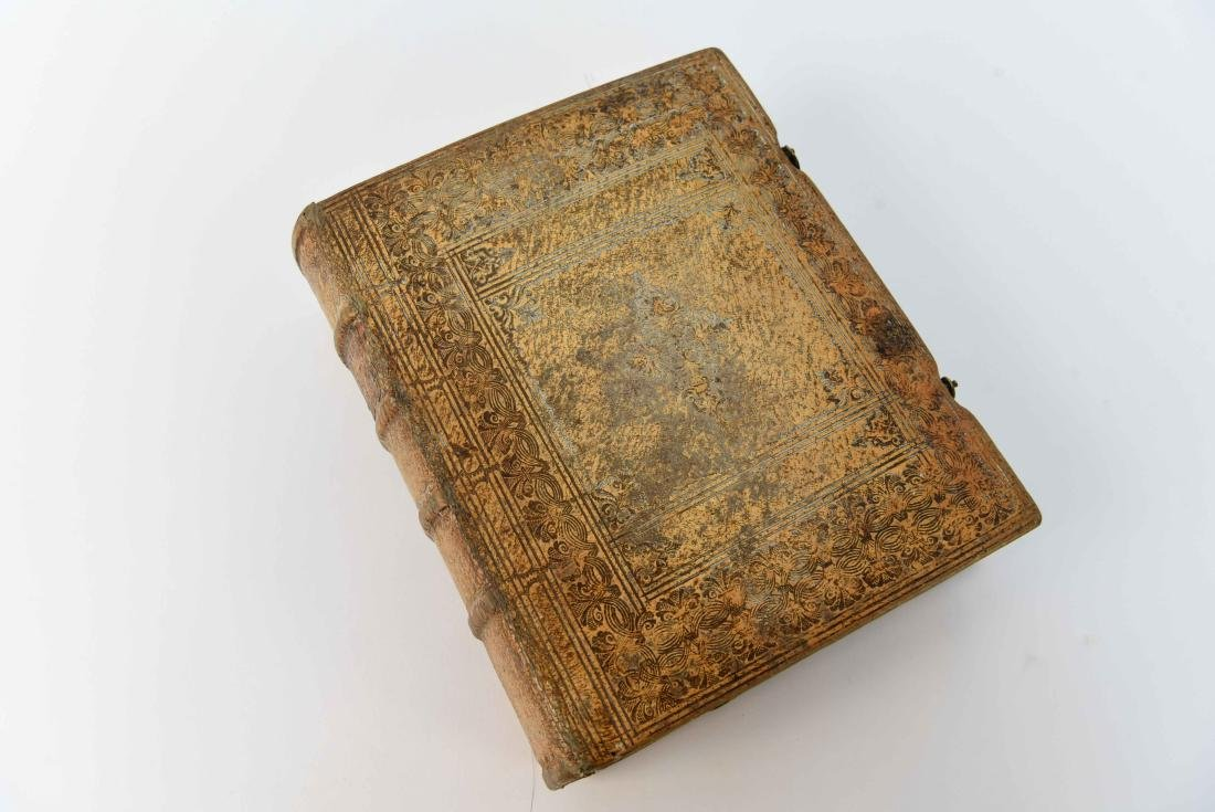ANTIQUE LEATHER BOUND FAUX BOOK SAFE - 6