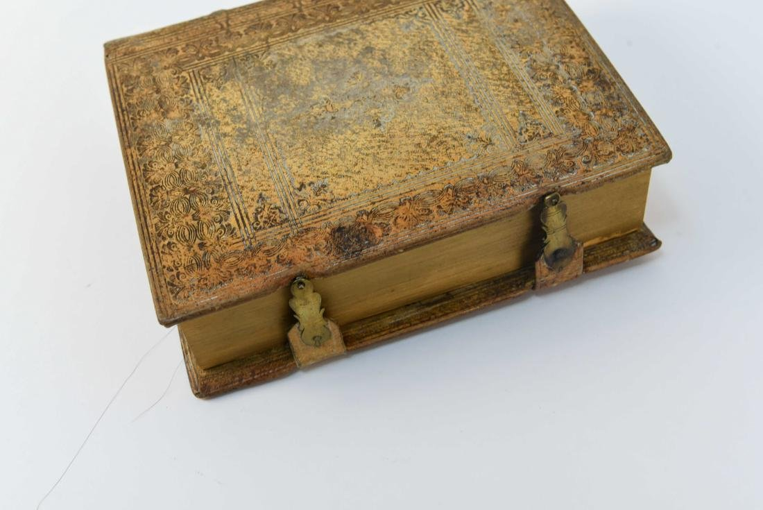 ANTIQUE LEATHER BOUND FAUX BOOK SAFE - 7