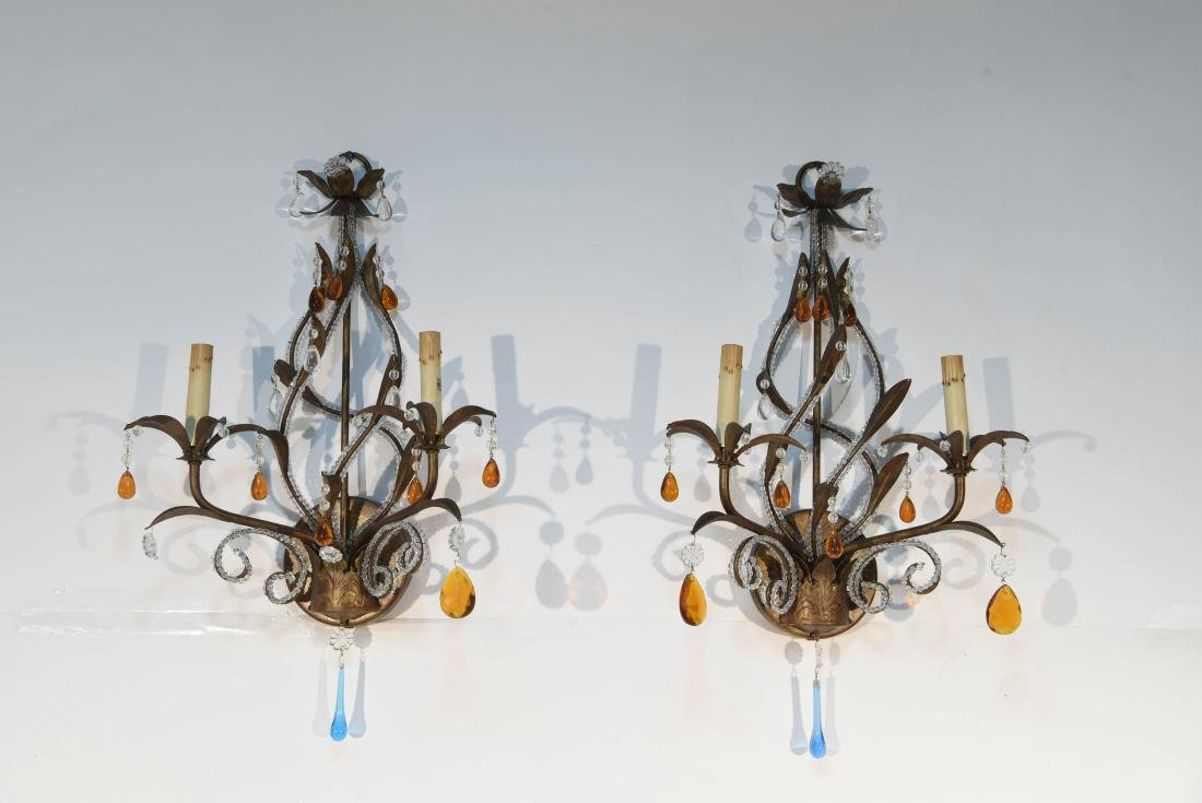 PAIR OF DROP CRYSTAL & IRON SCONCES