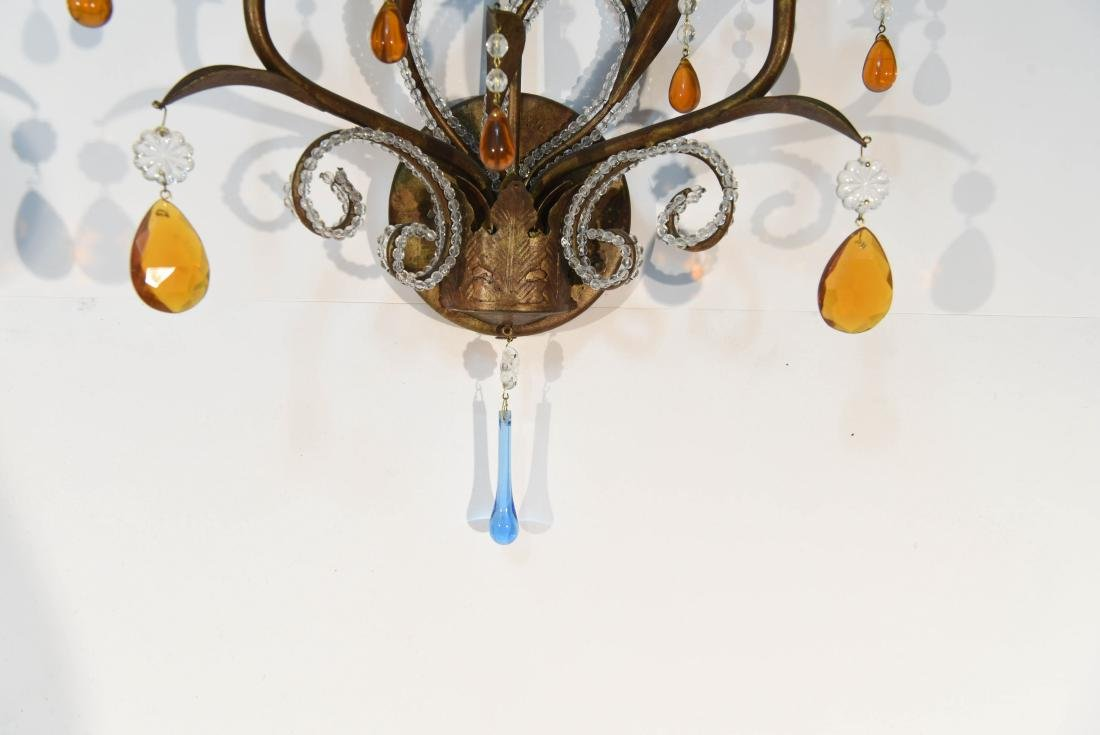 PAIR OF DROP CRYSTAL & IRON SCONCES - 2