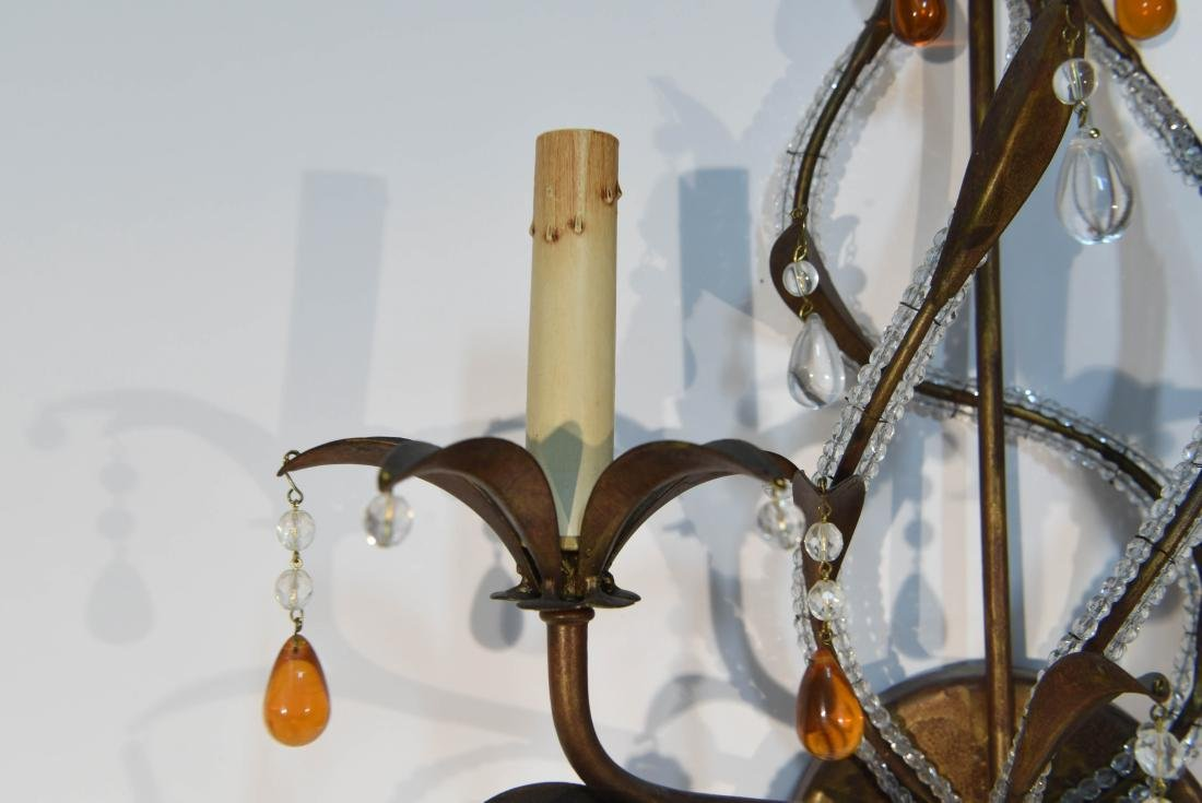 PAIR OF DROP CRYSTAL & IRON SCONCES - 5