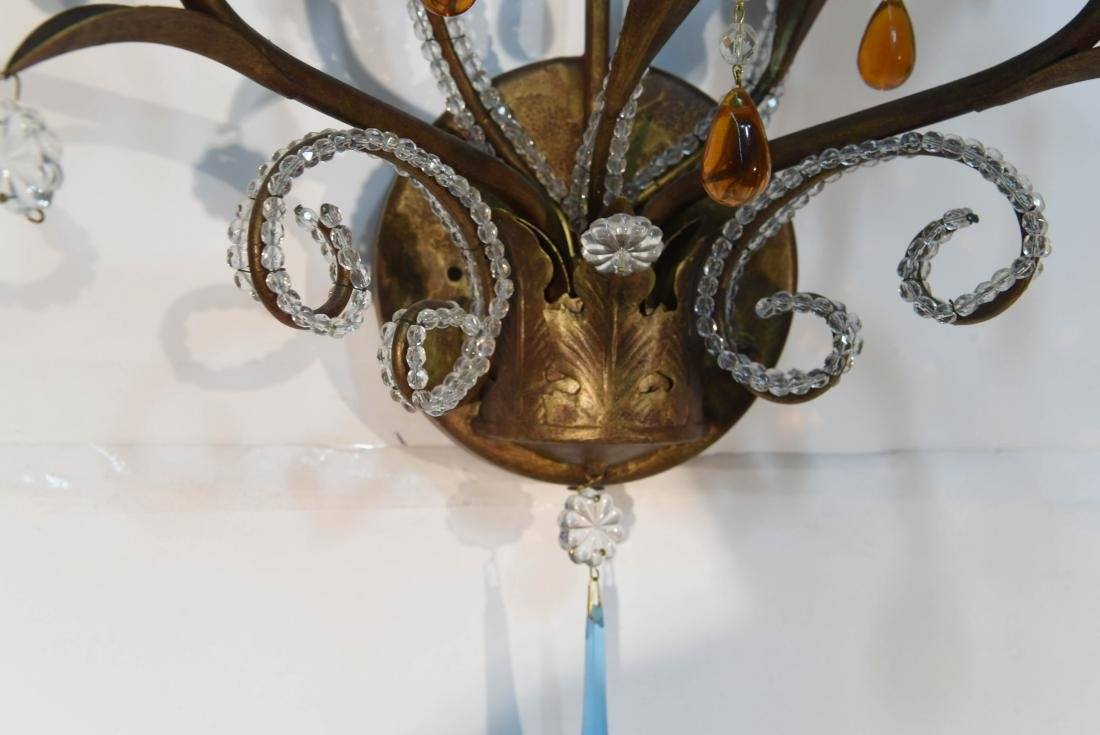 PAIR OF DROP CRYSTAL & IRON SCONCES - 6