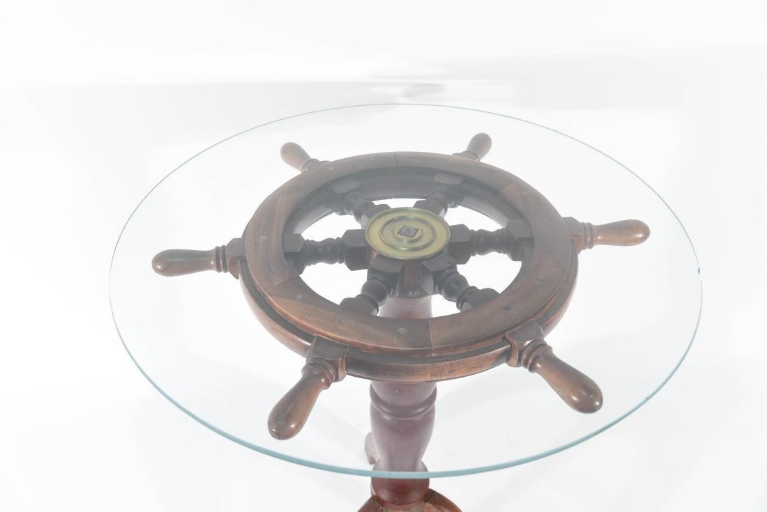 SHIP'S WHEEL SIDE TABLE - 5